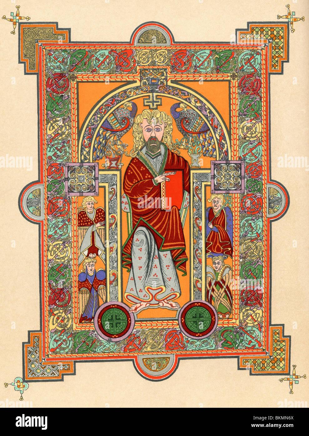 Christus mit vier Engeln, einleitende Seite an der St. Matthäus-Evangelium, aus dem Book of Kells, c.800. Stockbild