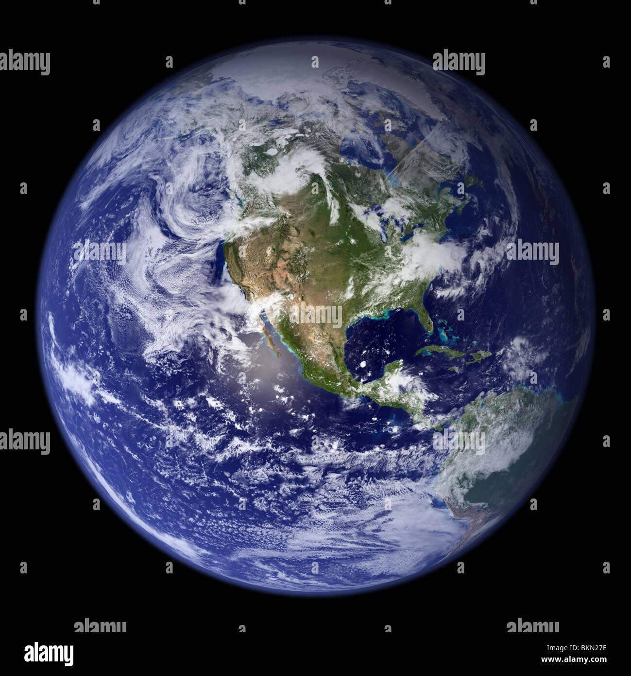Erde aus dem Weltraum mit Nordamerika sichtbar angezeigt. Stockfoto
