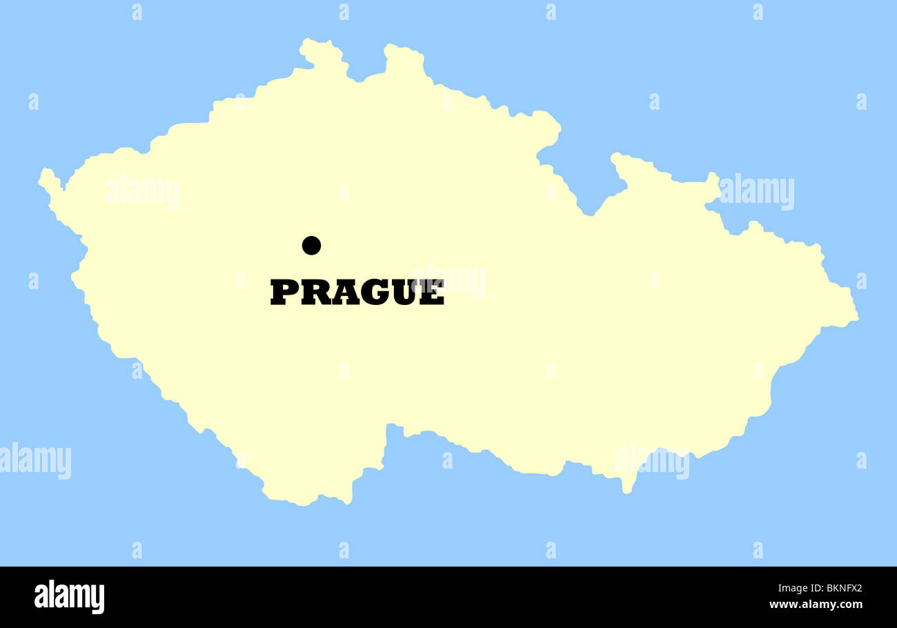 Prag Karte Tschechien.Karte Von Tschechien Isoliert Auf Einem Blauen Hintergrund Mit