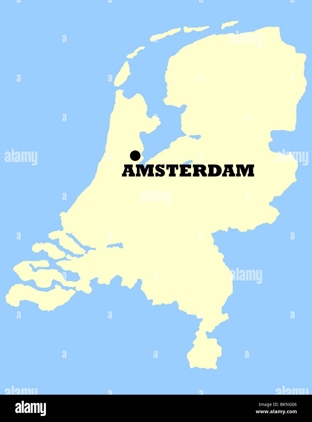 Niederlande Karte Umriss.Karte Von Niederlande Mit Amsterdam Gekennzeichnet Isoliert Auf