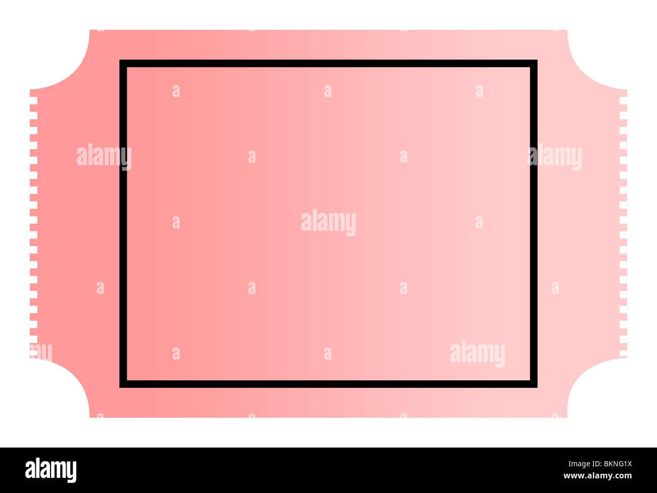Leere gradient rosa Kino oder Film-Ticket mit Textfreiraum, isoliert ...