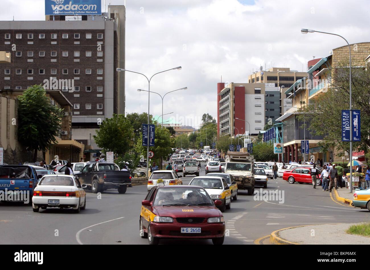 Zentralen Maseru, Hauptstadt von Lesotho Stockbild