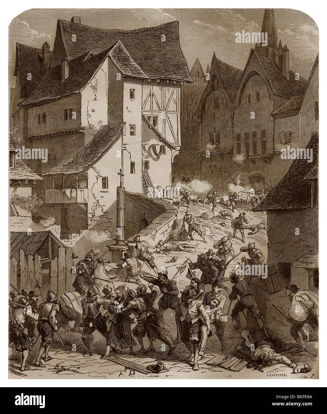 Am Ende des 16. Jahrhunderts in Paris abgestoßen die Stadtbürger und Mönche den Angriff der königlichen Stockbild