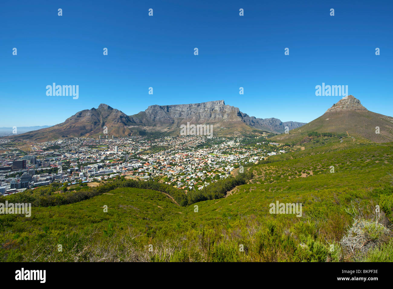 Blick auf den Tafelberg, Teufels Peak (links), Löwenkopf (rechts) und der City of Cape Town an einem wolkenlosen Stockbild
