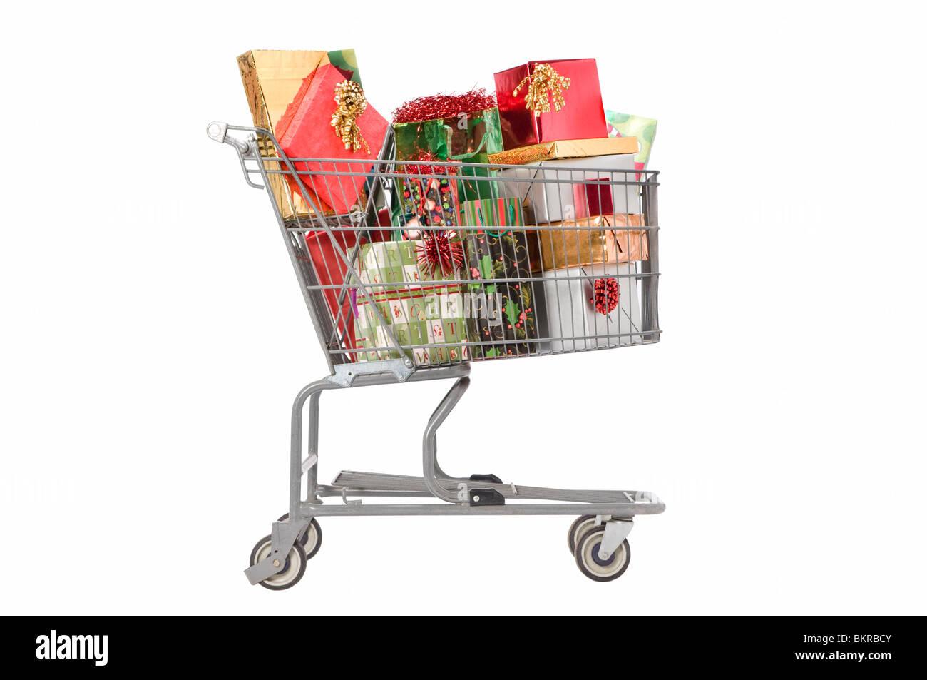 Lebensmittelgeschäft Warenkorb auf weiß gefüllt mit ...