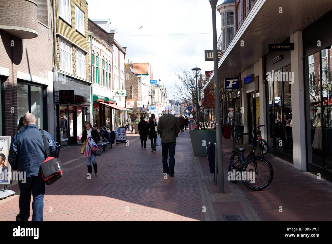 Verkehrsberuhigten Einkaufsstraße, Den Helder, Niederlande Stockbild