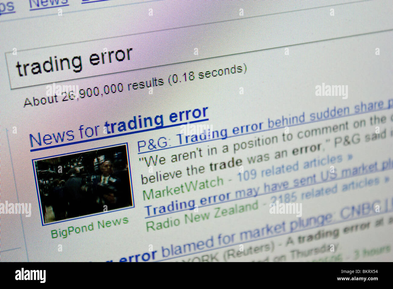 Fehler Nachrichten Börsencrash globalen Handel Stockbild