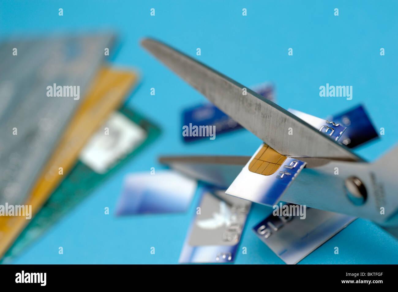 Kreditkarte zerschnitten Stockbild