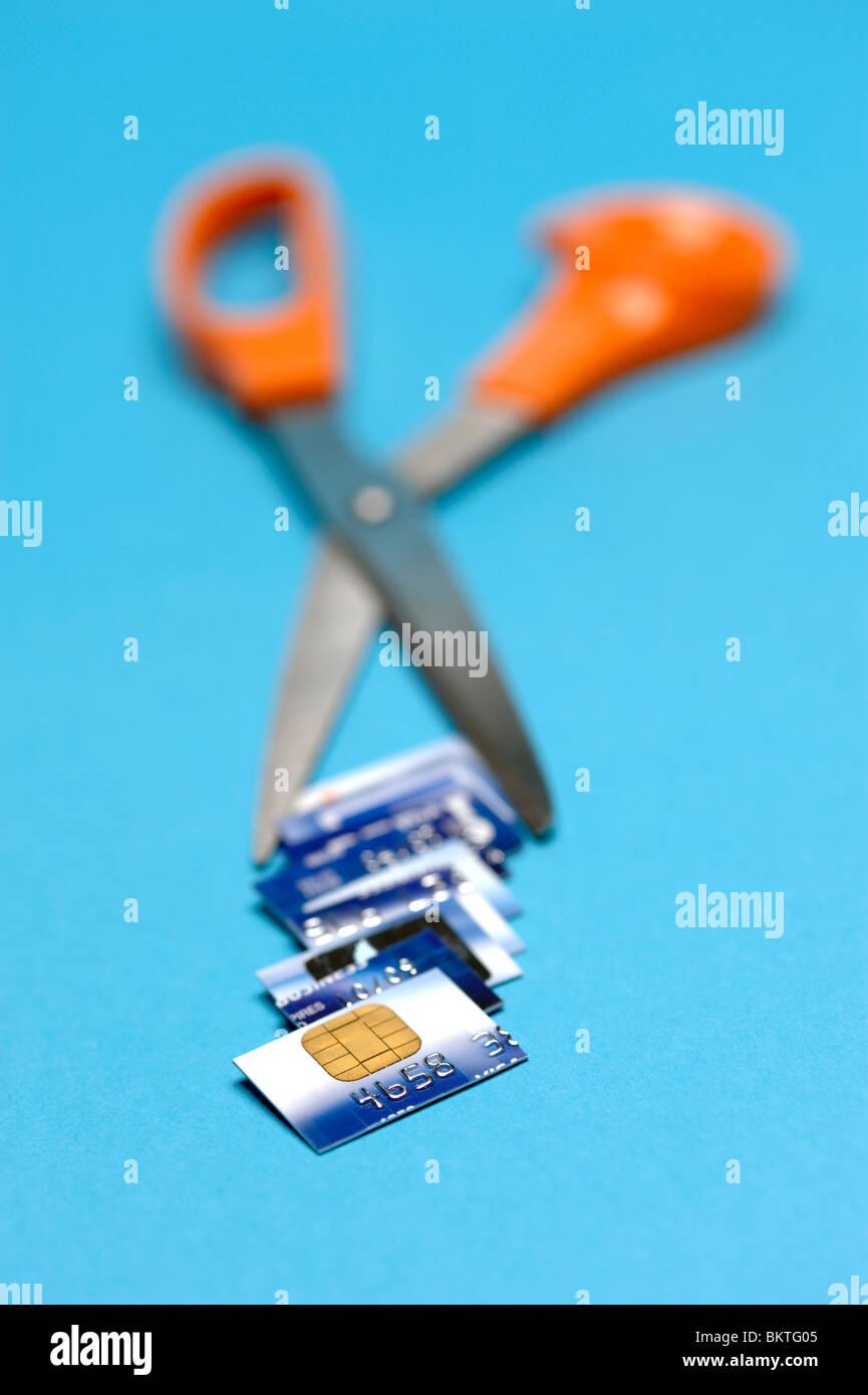 Kreditkarte zerschnitten Stockfoto