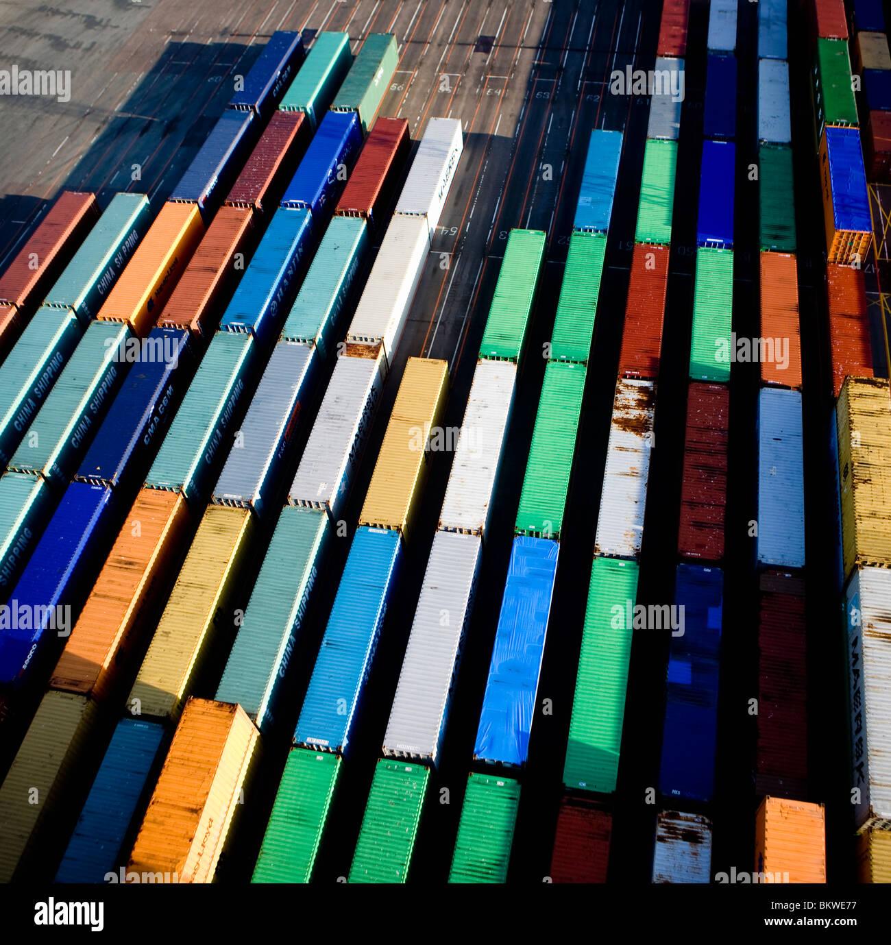 Bereich mit Containern Stockbild