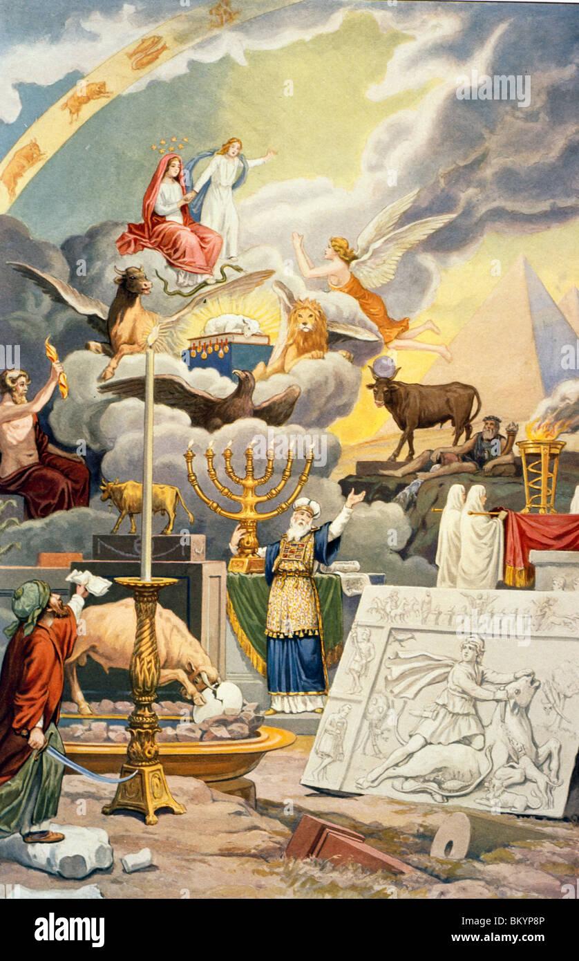 Gruppe der Weltreligionen von Rosicrucian symbolischen Philosophie von J. August Knapp USA Illinois Chicago Newberry Stockbild