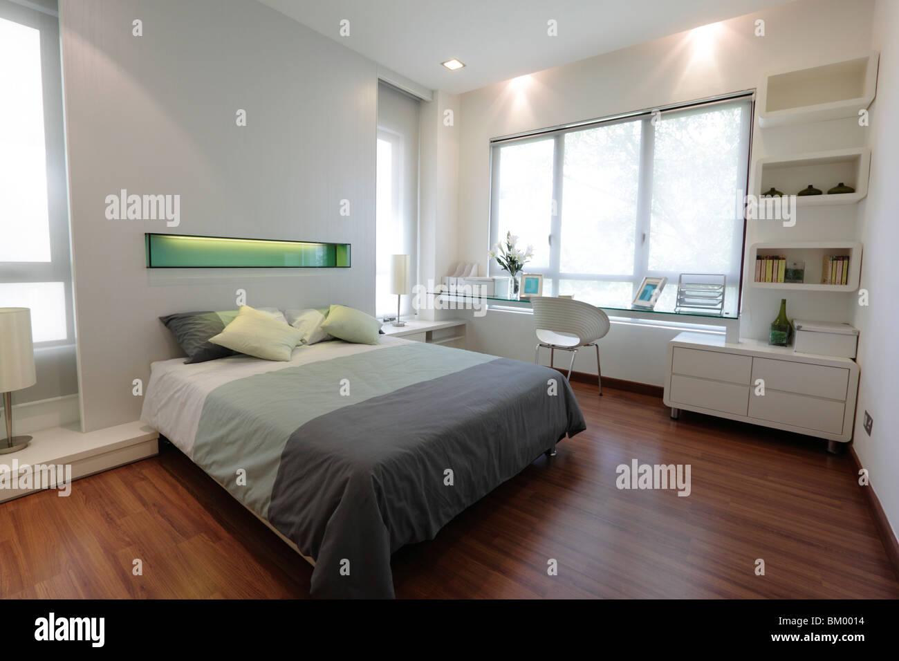 Blick auf einem modernen Schlafzimmer Stockbild