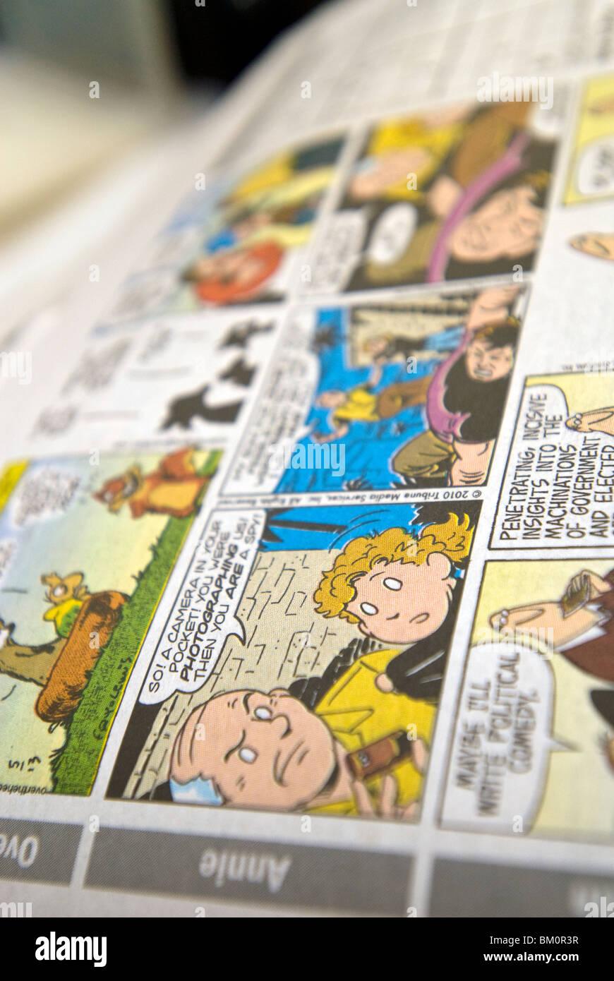 Little Orphan Annie-Comic-Strip sieht in der New York Daily News Stockbild
