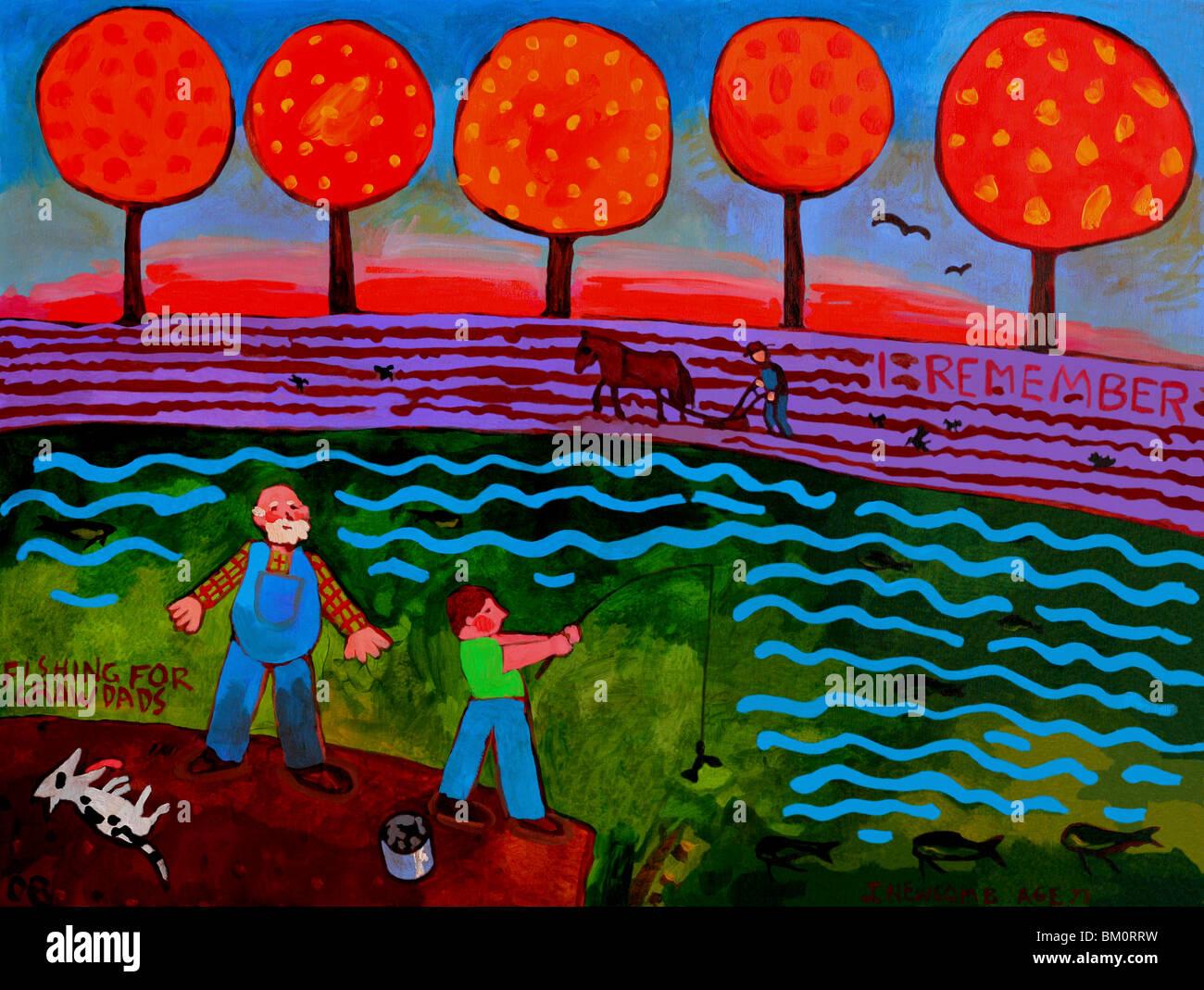 Ich erinnere mich an Fischen für Crawdads 2008 John Newcomb (b.20th C. American) Stockbild