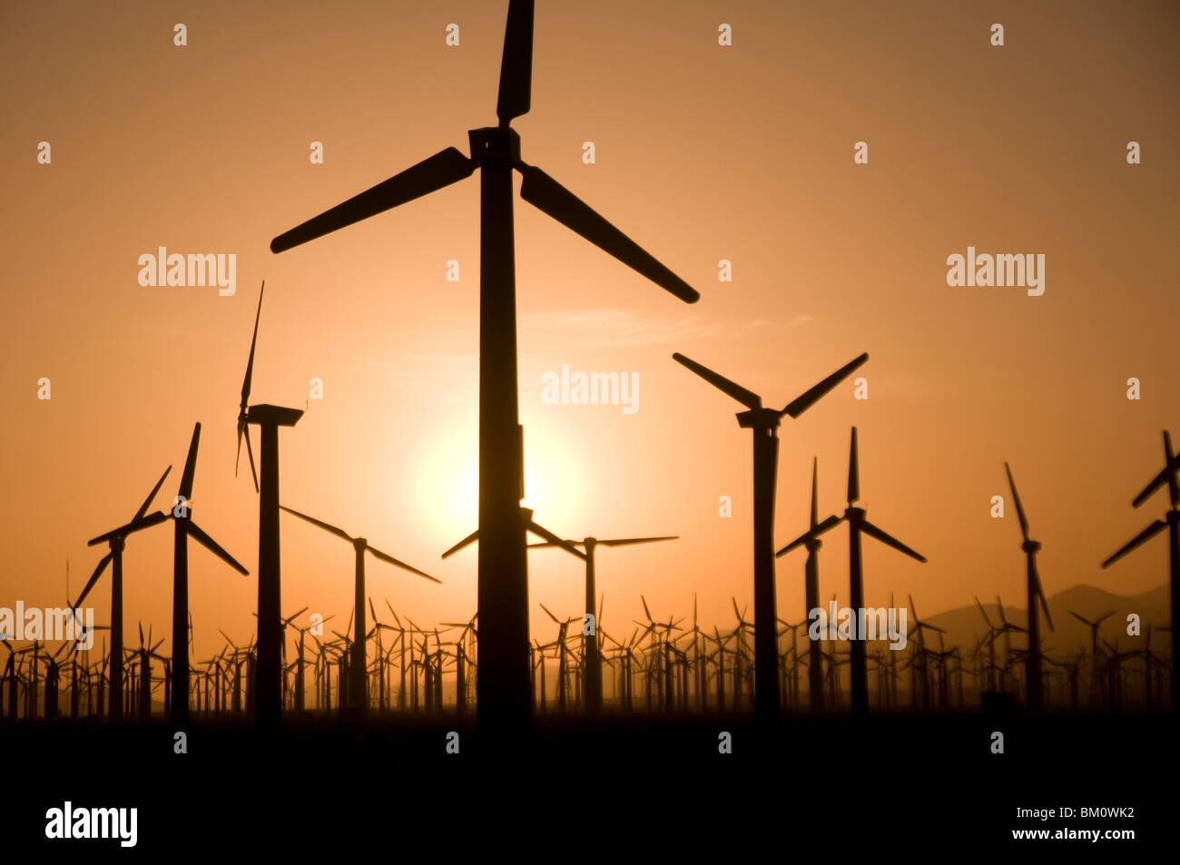Windmill Farm bei Sonnenuntergang in Palm Springs Coachella Valley südlichen Kalifornien USA Stockbild