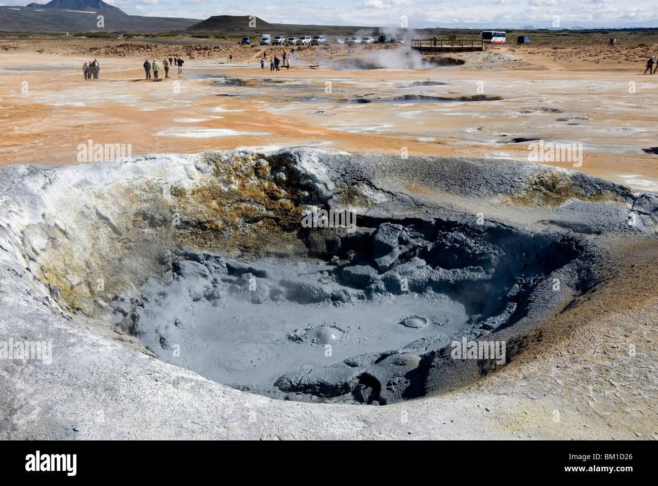 Kochendem Schlamm-Pool, geothermische Namafjall Nähe See Myvatn, Nordosten, Island, Polarregionen Stockbild