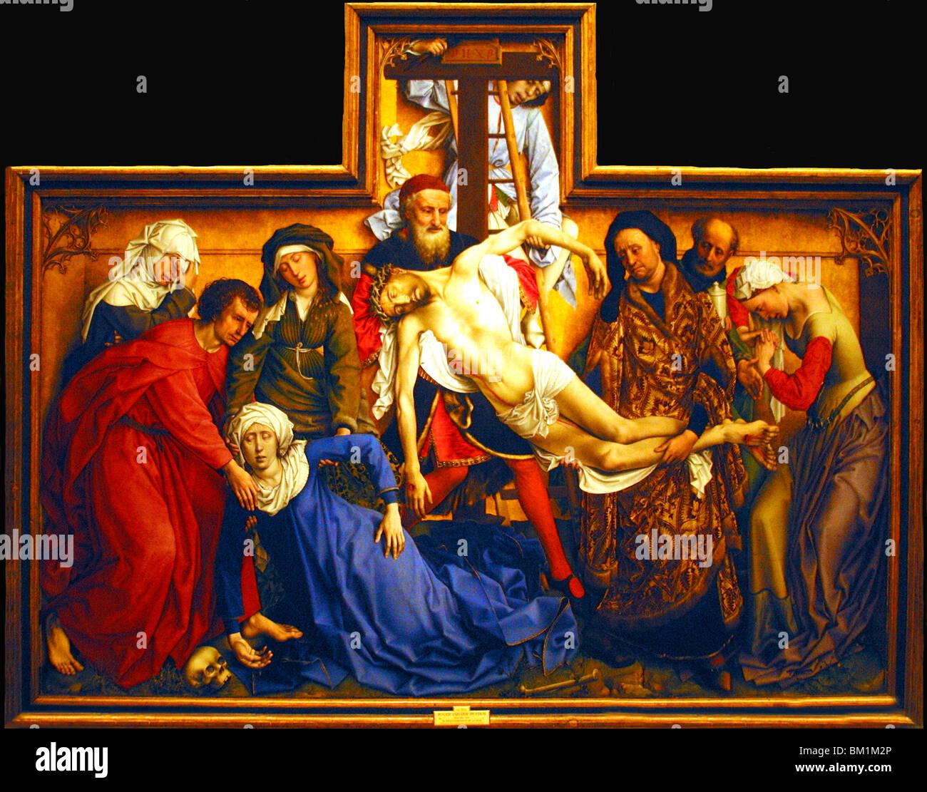 Der Abstieg vom Kreuz von Rogier Van Der Weyden ist schönes Beispiel primitiven Schule flämische Malerei Stockbild