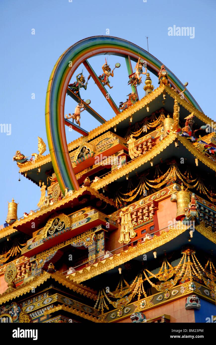 Golden Buddhistentempel, Bylakuppe, Coorg, Karnataka, Indien Stockbild