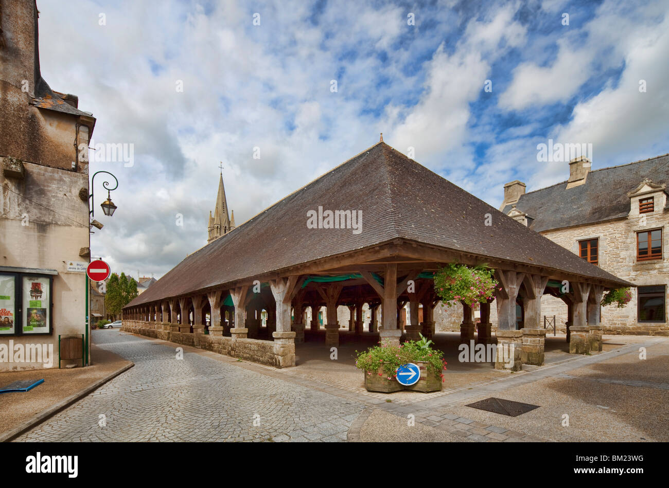 17. Jahrhundert Markt Hall, Stadt von Questembert, überweisen von Morbihan, Bretagne, Frankreich Stockbild