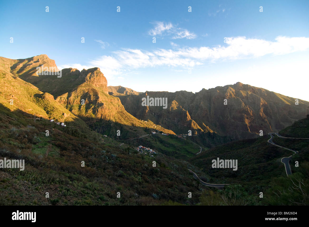Das versteckte Tal von Masca bei Sonnenuntergang, Teneriffa, Kanarische Inseln, Spanien, Europa Stockbild
