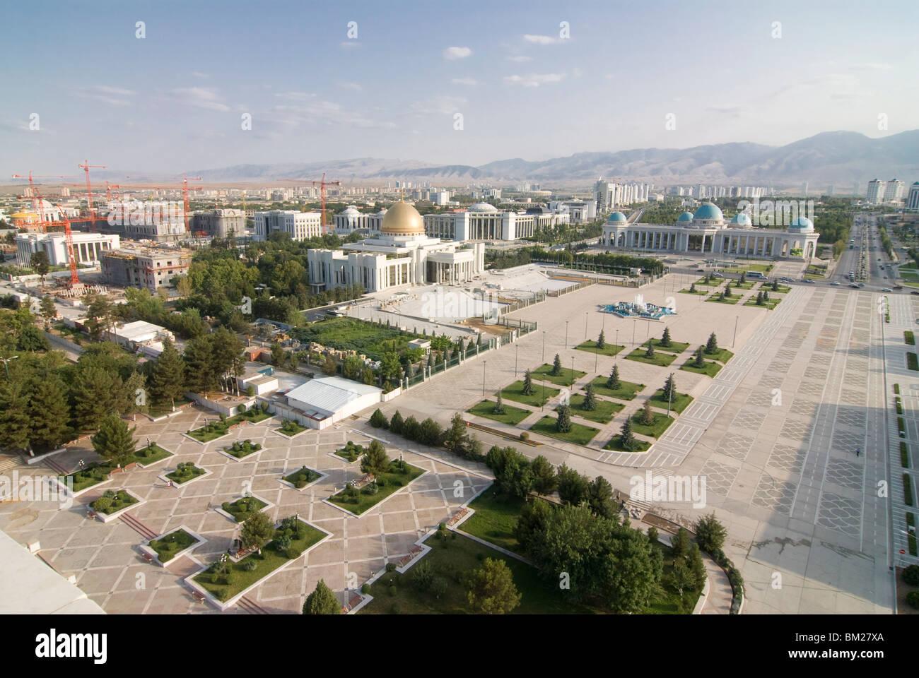 Blick über die Regierung Viertel und Zentrum von Aschgabat, Turkmenistan, Zentral-Asien, Asien Stockbild
