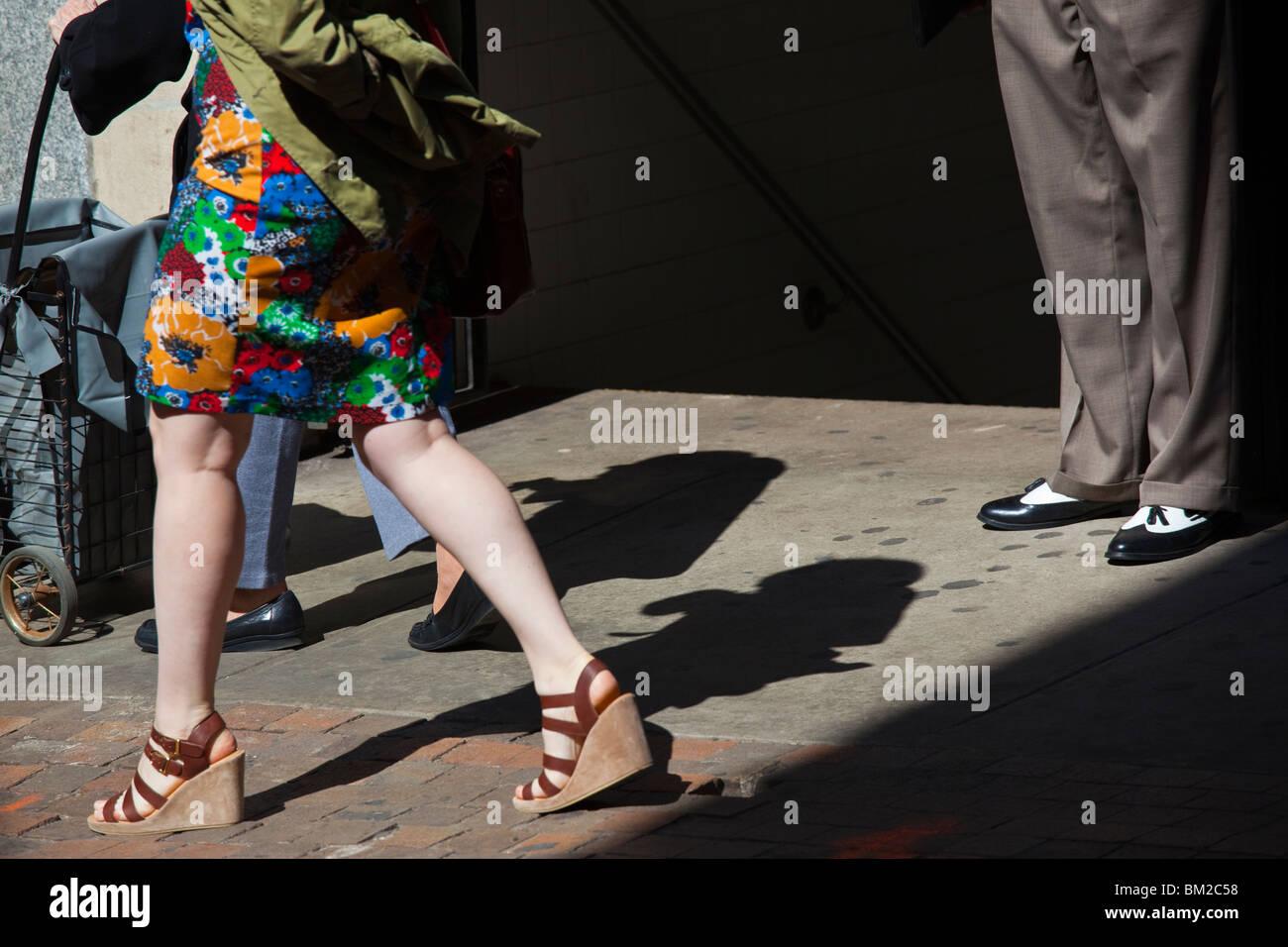 Bürgersteig in Manhattan, New York-Unterstadt Stockbild
