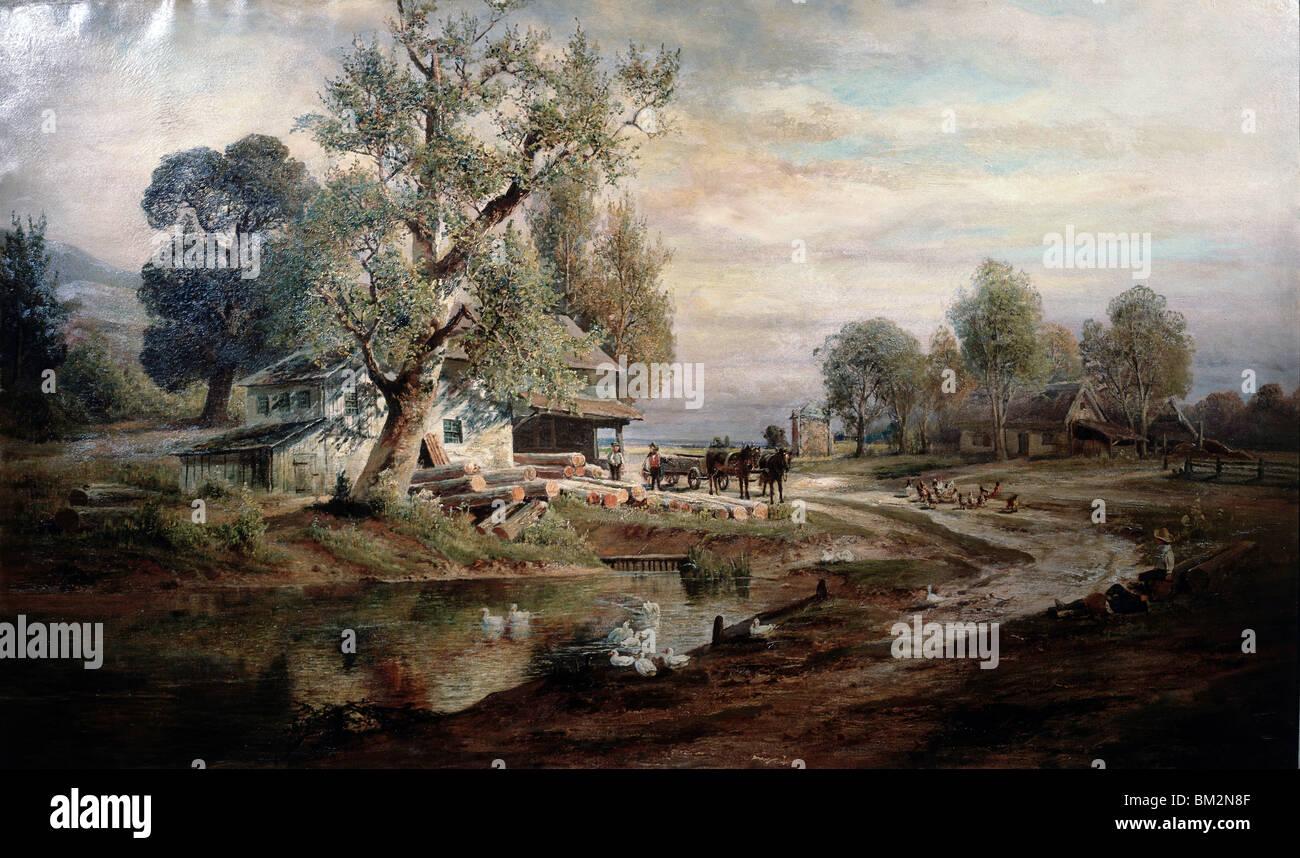 Altes Gehöft mit Charles P. Weber, Öl auf Leinwand, (b.1849), David David Gallery, Philadelphia, Pennsylvania, Stockbild