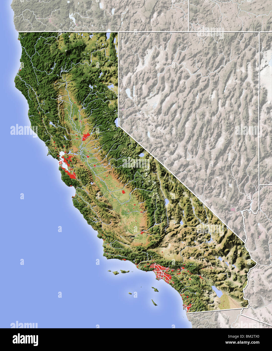 Topographic Map California Stockfotos & Topographic Map California ...