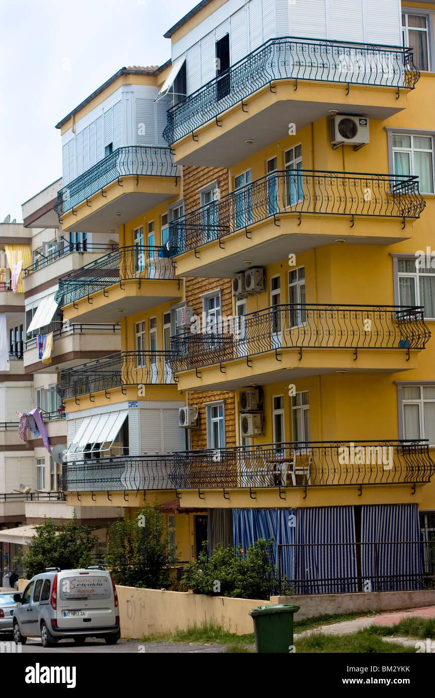 Hochhaus Wohn Gebäude, Alanya, Türkei. Stockbild