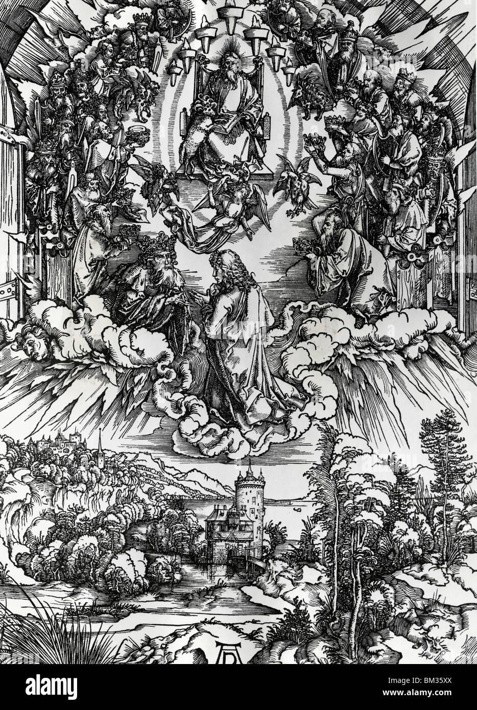 St. Johannes vor Gott und ältesten von Albrecht Dürer, Gravur, (1471-1528) Stockbild
