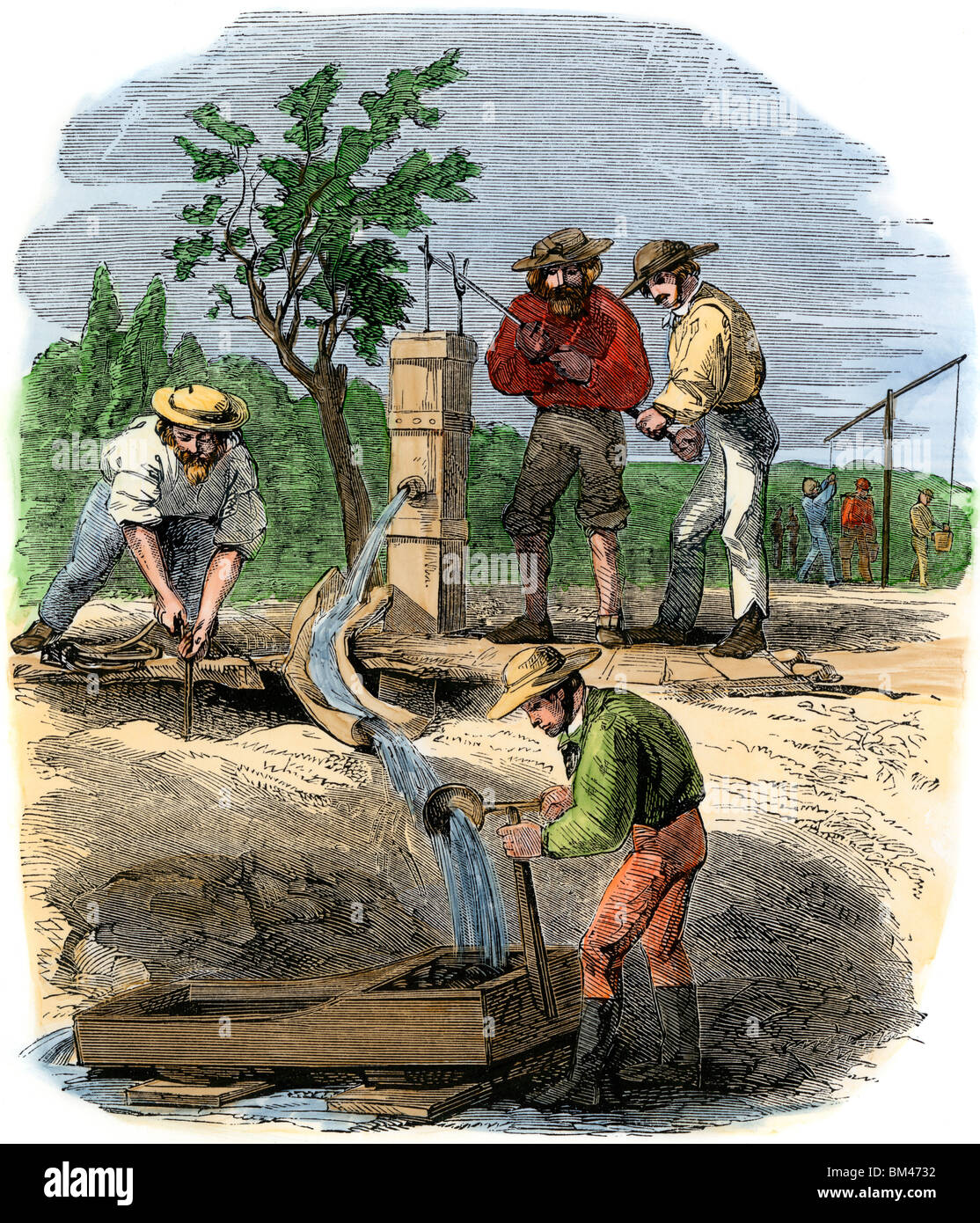 Australischer Goldsucher arbeiten ein Flussbett Anspruch auf dem Turon, 1850. Hand - farbige Holzschnitt Stockfoto