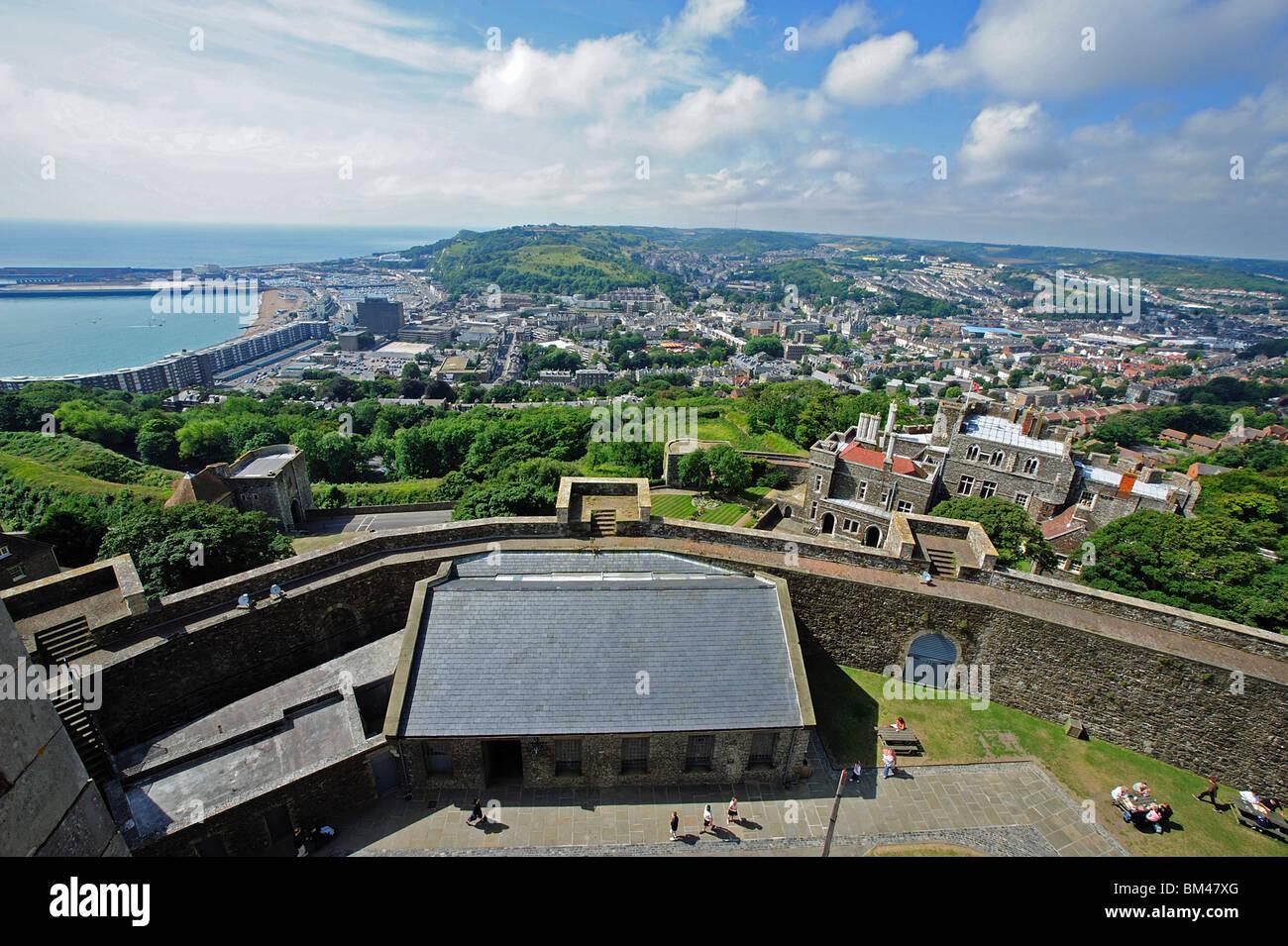 Blick vom oberen Dover Castle, Kent, UK Stockbild