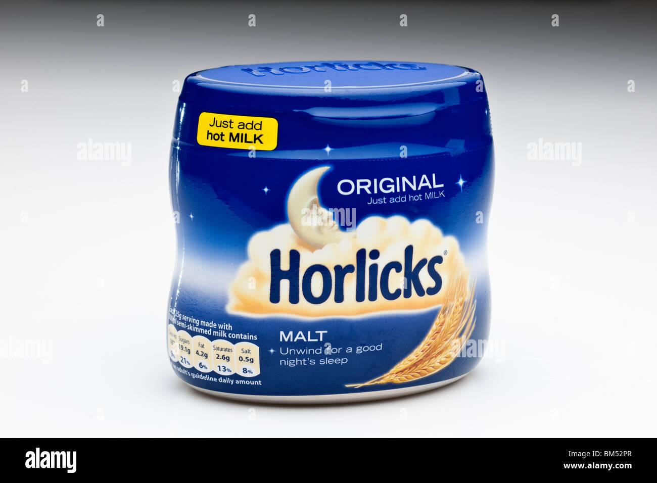 Blauen Kunststoff-Container des ursprünglichen Horlicks Stockfoto