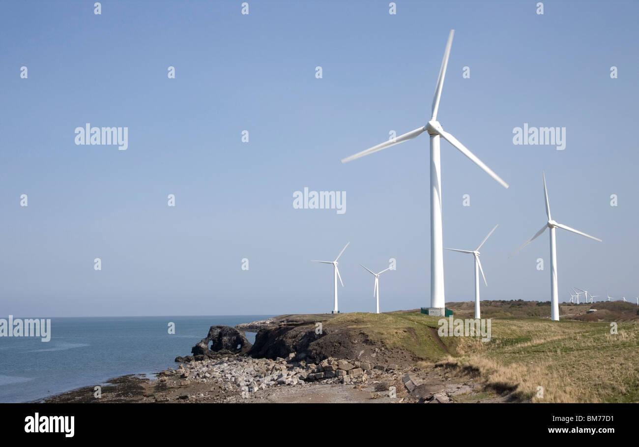 Workington Windpark an der Küste von cumbria Stockbild