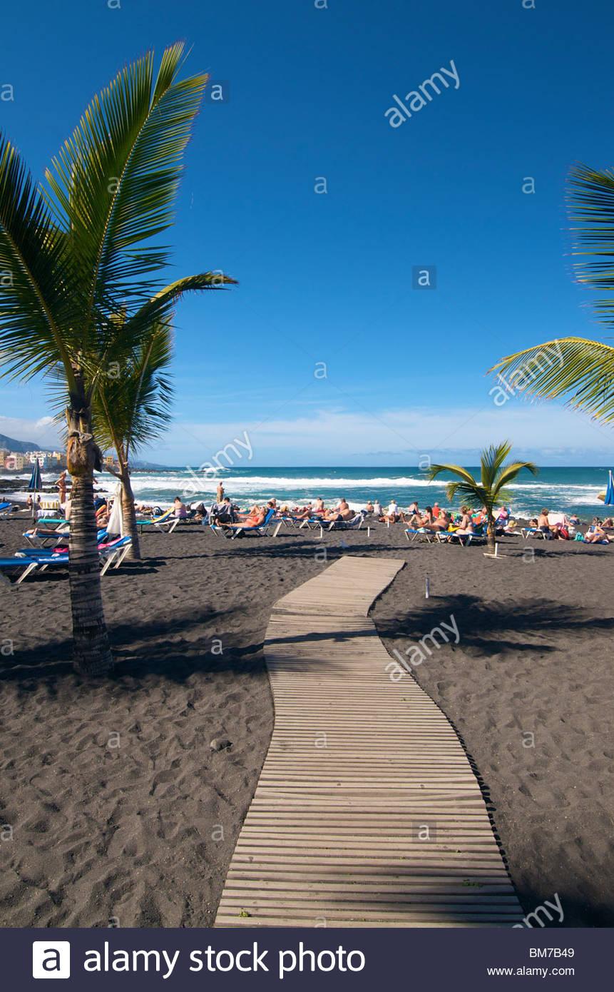 Playa Jardin Puerto De La Cruz-Teneriffa-Kanarische Inseln-Spanien Stockbild
