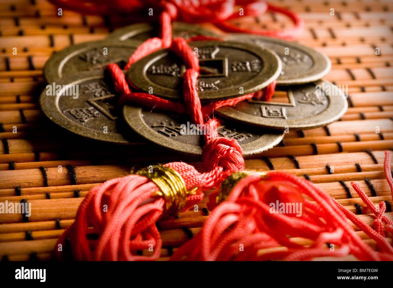 Chinesische Feng Shui Münzen Für Reichtum Und Erfolg Stockfoto Bild