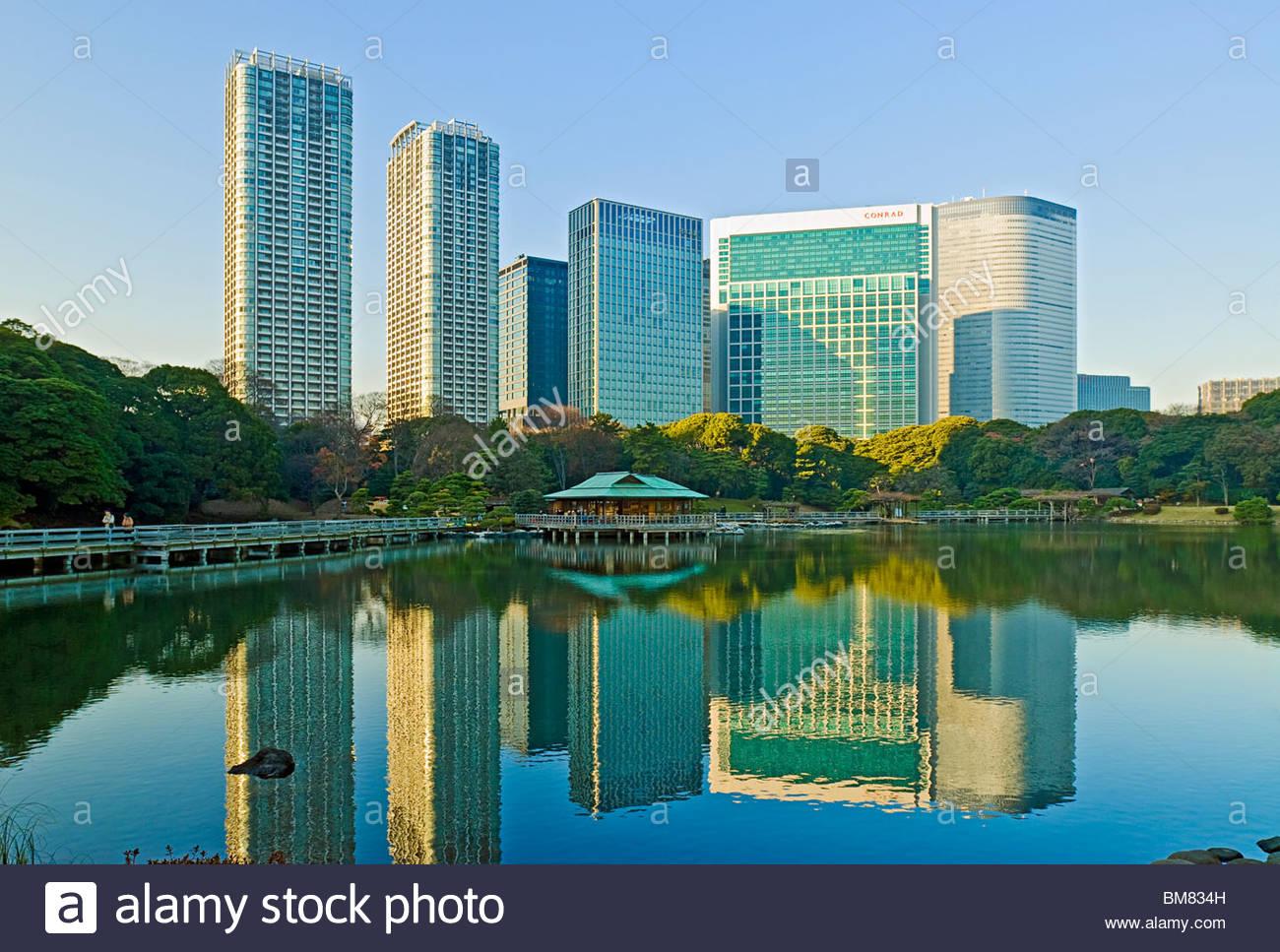 Hama-Rikyu-Garten-Garten Shiodome Japan Stockbild