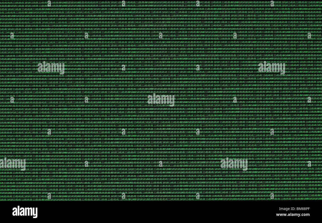 Binärzahlen, Nullen und Einsen, in grün auf einem schwarzen Computermonitor Stockbild