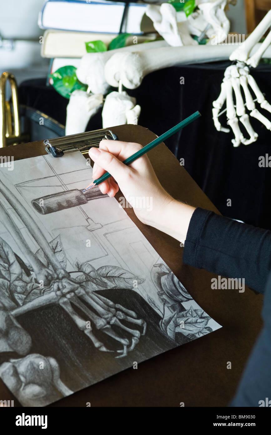 Künstler zeichnen Stillleben zeichnen Stockbild