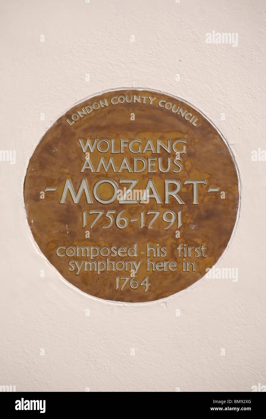 London Grafschaftsrat Plaque auf Kosten des Hauses, wo Mozart im ...