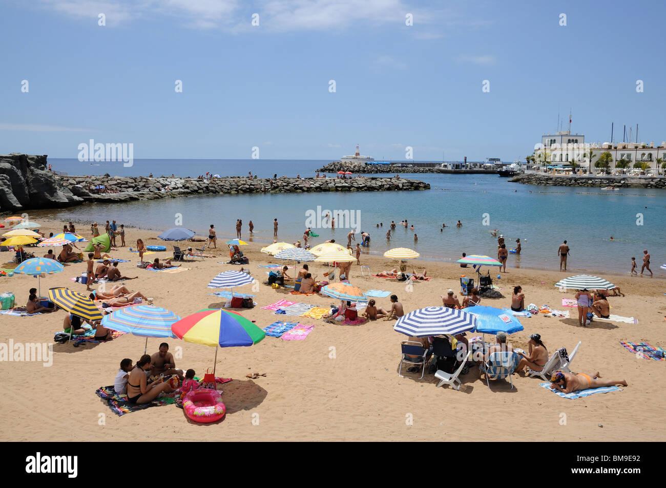 Strand in Puerto de Mogan, Gran Canaria Spanien Stockbild