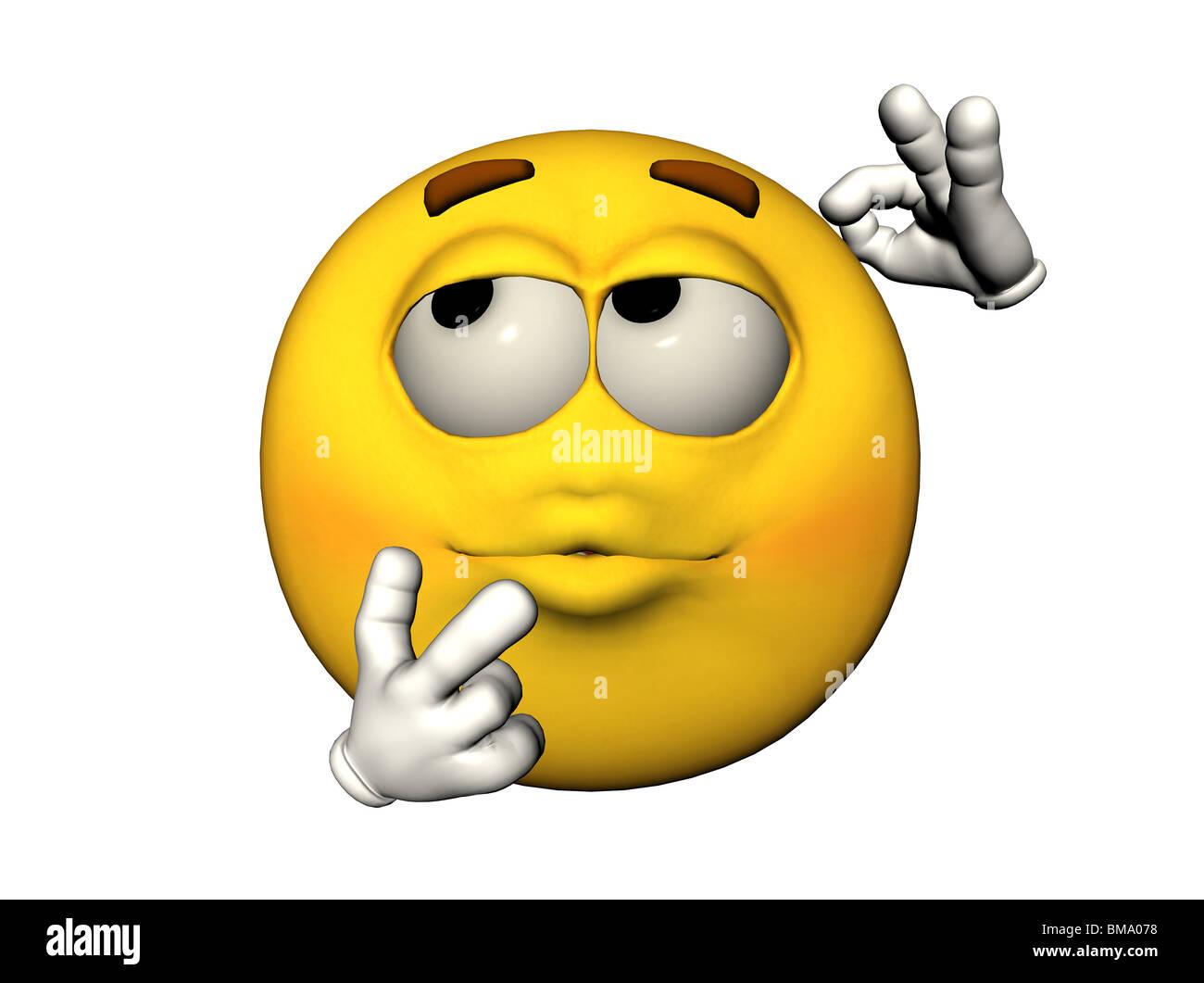 3D Abbildung von einem denken emoticon Stockbild