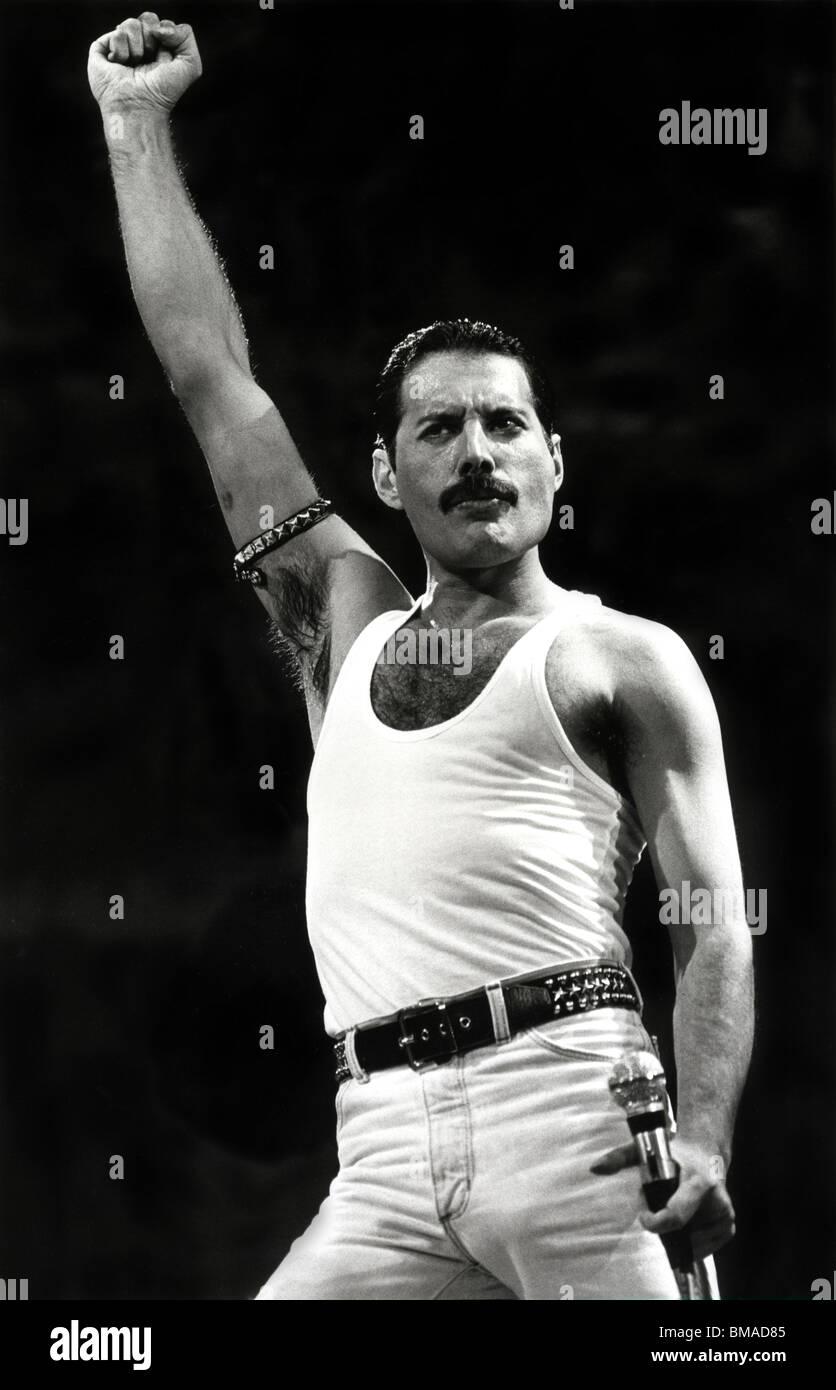 Freddie Mercury die Show bei Live Aid im Juli 1985 Stockbild