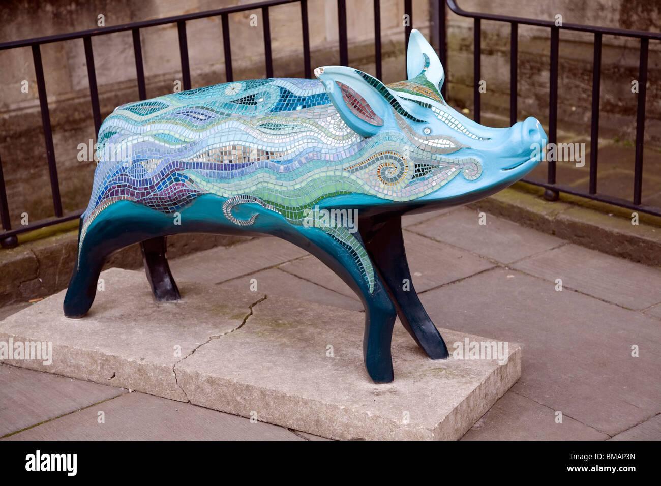 Schwein Skulptur zum Gedenken an König Bladud Geschichte, Bad Stockbild