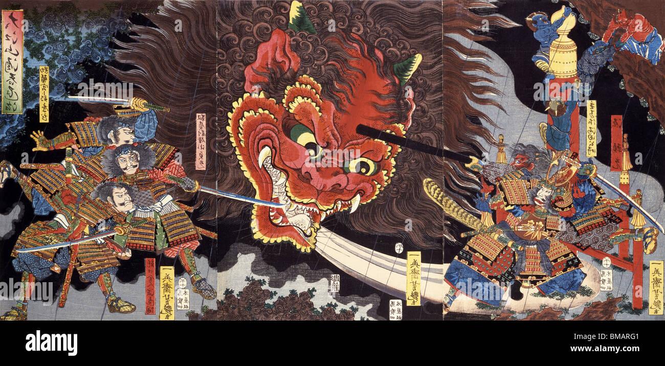 Minimoto Yorimitsu erschlagen von den riesigen ein von Utagawa Yoshitsuya. Holzschnitt drucken. Japan, 1858 Stockbild