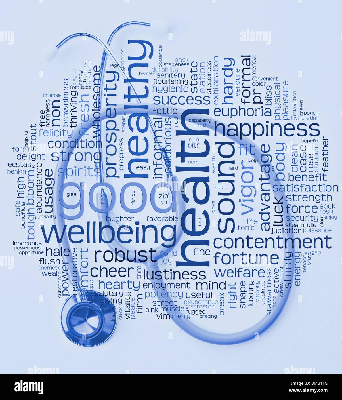 gesund Gesundheit und Wohlbefinden-Wort oder Tag-Cloud mit Stethscope im Krankenhaus Blautöne Stockbild