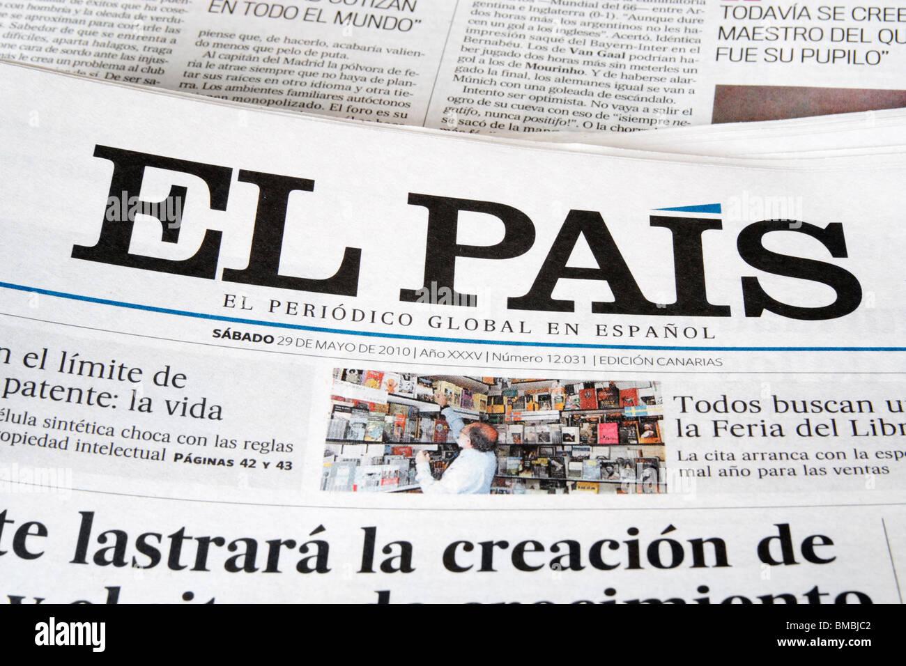 El Pais ist Spaniens Top-selling nationale Tageszeitung mit einer Auflage von rund 450.000 Stockfoto
