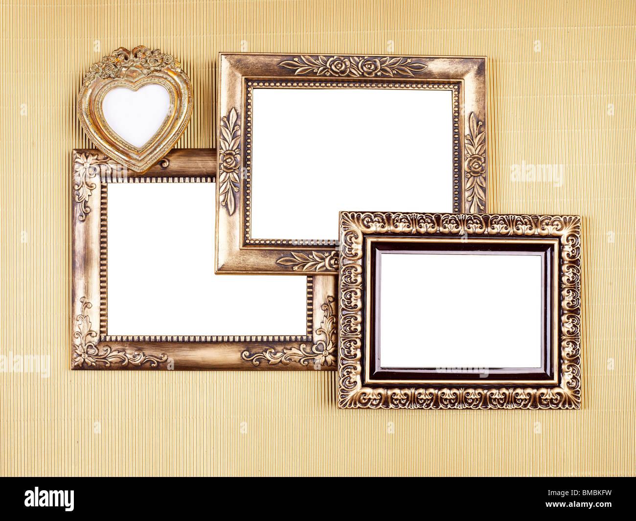 Erinnerungen in alten Bilderrahmen auf Gold Muster, Design-Element ...