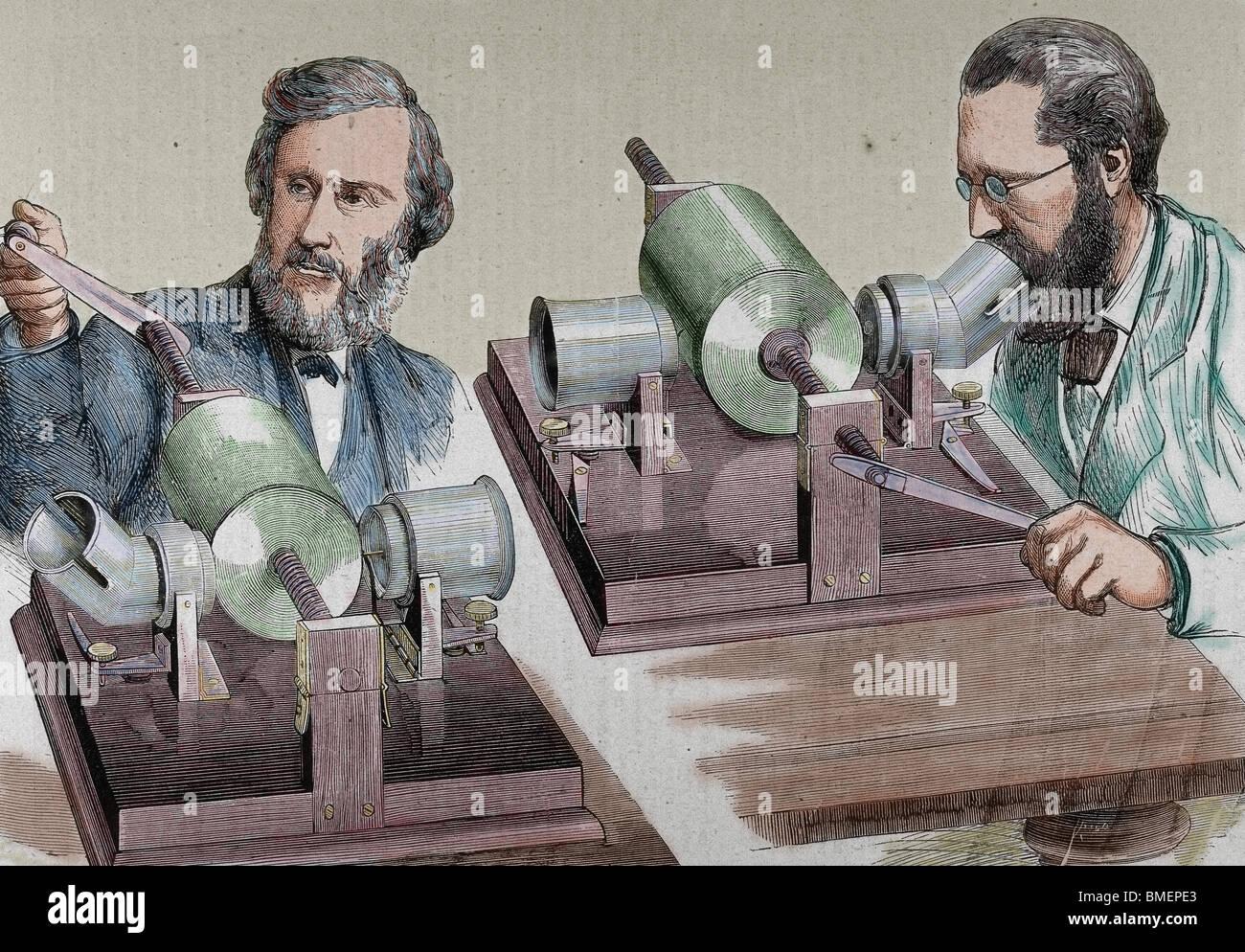 Phonographen. Gegründet 1877 von Alva (Mailand, Ohio, 1847-West Orange, 1931). Farbige Gravur. Stockfoto