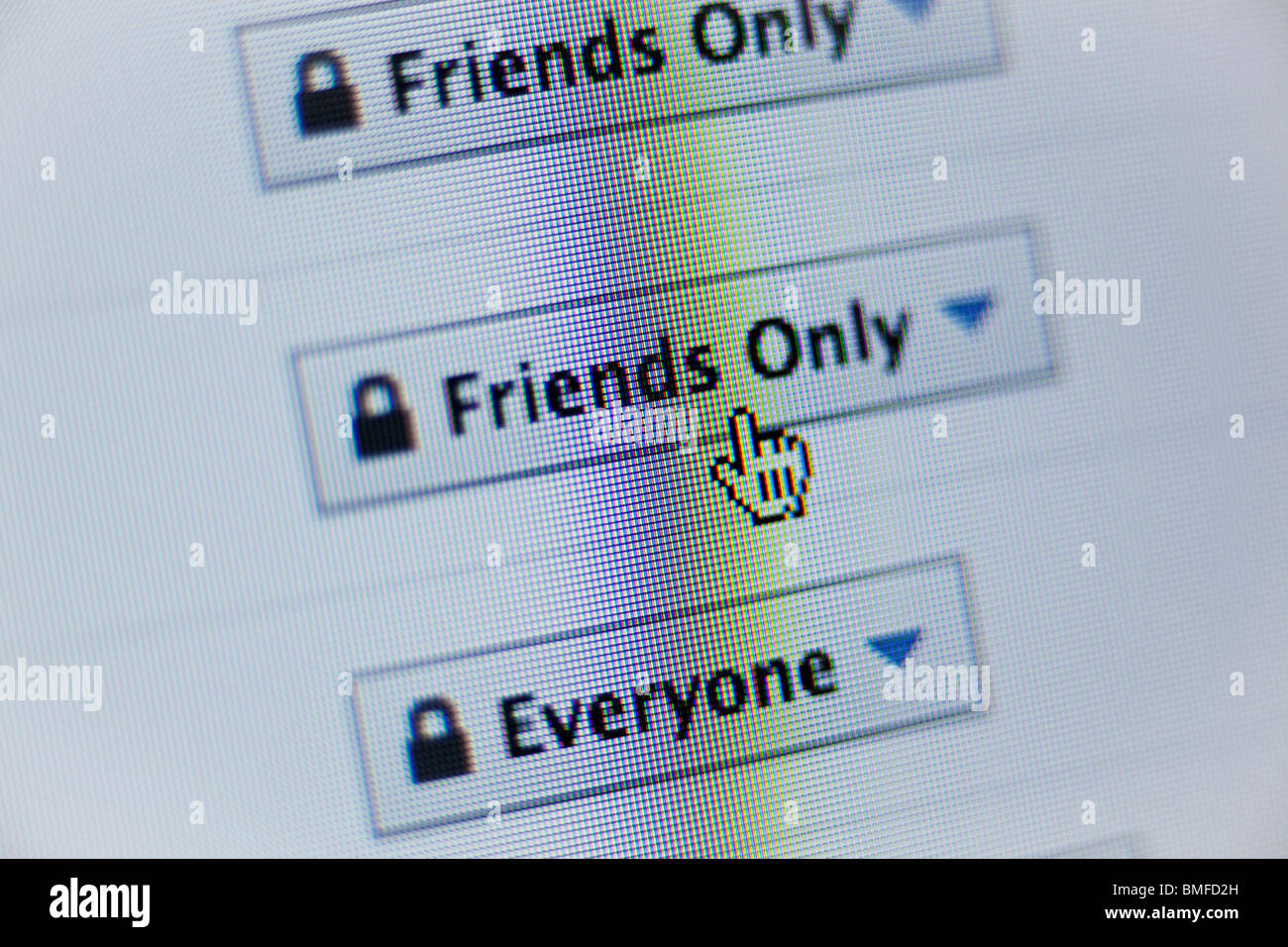 Privatsphäre-Einstellungen auf Facebook-website Stockbild